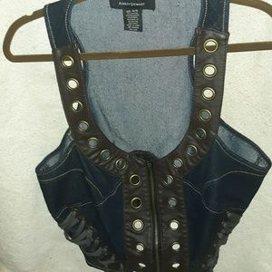Denim and faux leather vest
